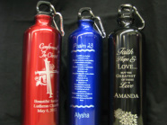 Metal water bottles engraved